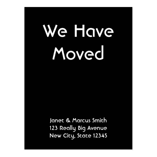Custom Black Moving Announcement Postcard