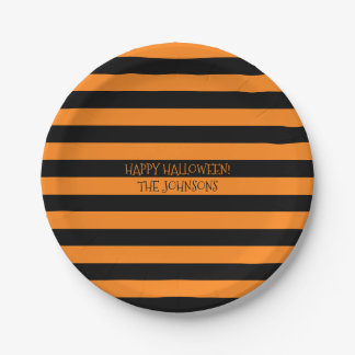 Custom black & orange Halloween party paper plates