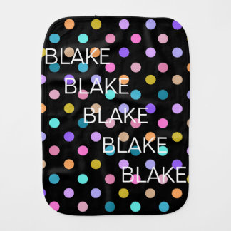 Custom Black Rainbow Confetti Dots Burp Cloth