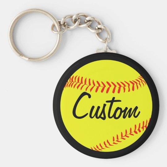 Custom Black Softball Keychain