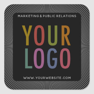 Custom Black Square Stickers with Company Logo
