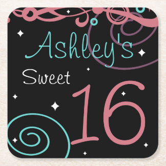 Custom Black Sweet 16 Birthday Party Coasters
