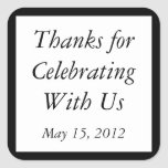 Custom Black Thank You Stickers and Favour Labels