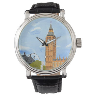 Custom Black Vintage Leather Big Ben Watch