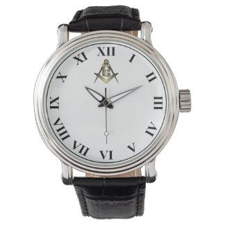 Custom Black Vintage  Masonic Design Wristwatch