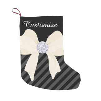 Custom Black w/Cream Bow & Diamonds Small Christmas Stocking