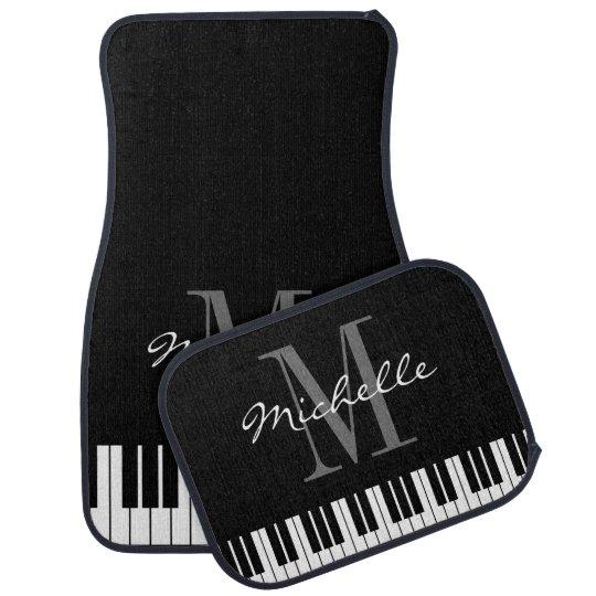 Custom black white piano keys monogram car mat