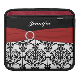 Custom Black, White, Red Damask with FAUX Ribbon iPad Sleeve