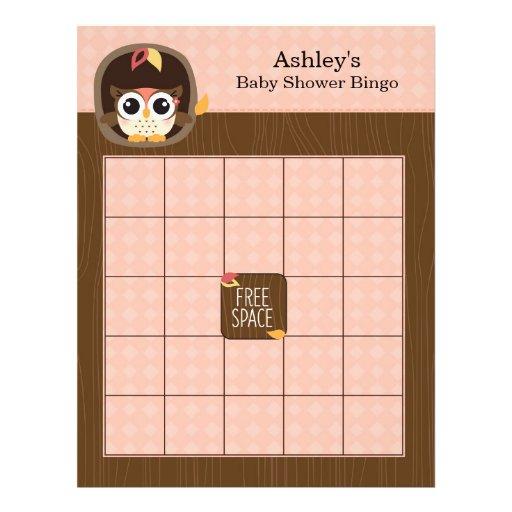 Custom Blank Baby Shower Bingo - Owl Girl Flyer Design