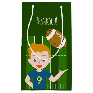 Custom Blond Boy Football Party Favor Bags