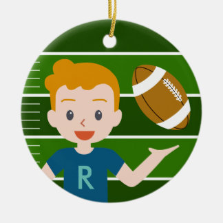 Custom Blond Boy Football Round Ornament