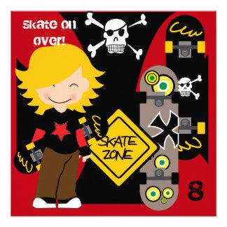 Custom Blond Skateboarding Birthday Invitations