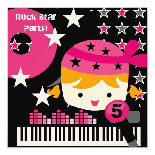 Custom Blonde Girls Rock Star Birthday Invitations