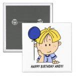 Custom Blonde Haired Boy Birthday Button