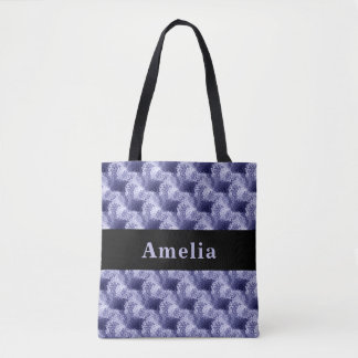 Custom Blue Abstract Texture Pattern Tote Bag