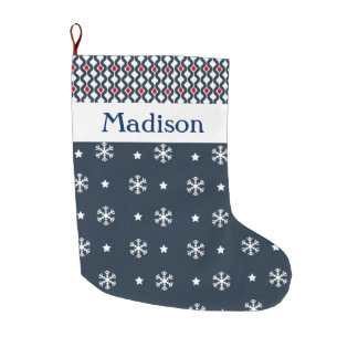 Custom Blue and Red Abstract Pattern Snowflakes Large Christmas Stocking