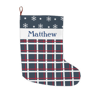 Custom Blue and Red Plaid and Snowflakes Large Christmas Stocking