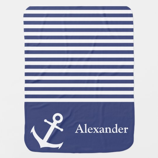 Custom Blue and White Nautical Anchor Baby Blanket