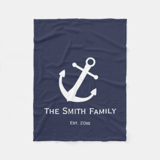 Custom Blue and White Nautical Anchor Blanket