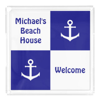 Custom Blue and White Nautical Serving Tray