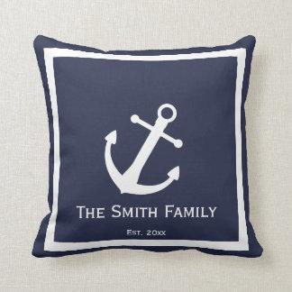Custom Blue and White Nautical Throw Pillow