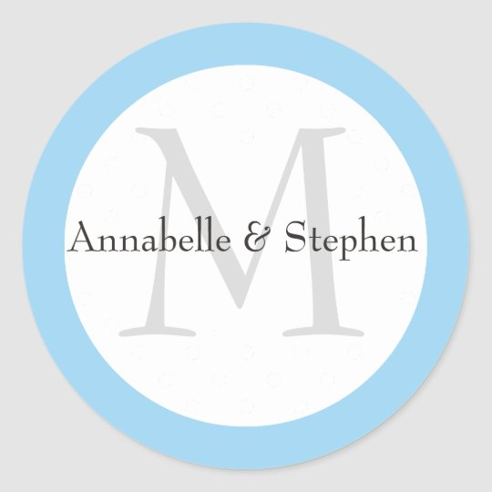 Custom Blue and White Wedding Stickers with Names