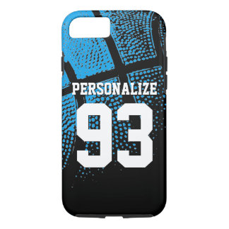 Custom blue basketball jersey number iPhone 7 case
