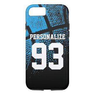 Custom blue basketball jersey number iPhone 7 case