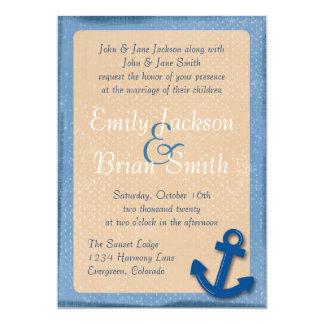 Custom blue beige anchor wedding invitations