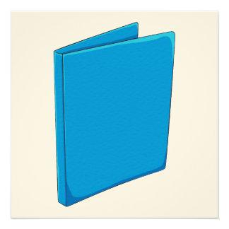 Custom Blue Binder Folder Invitation Postage Label