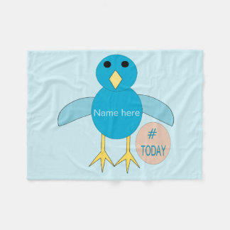 Custom Blue Birthday Boy Chick Fleece Blanket