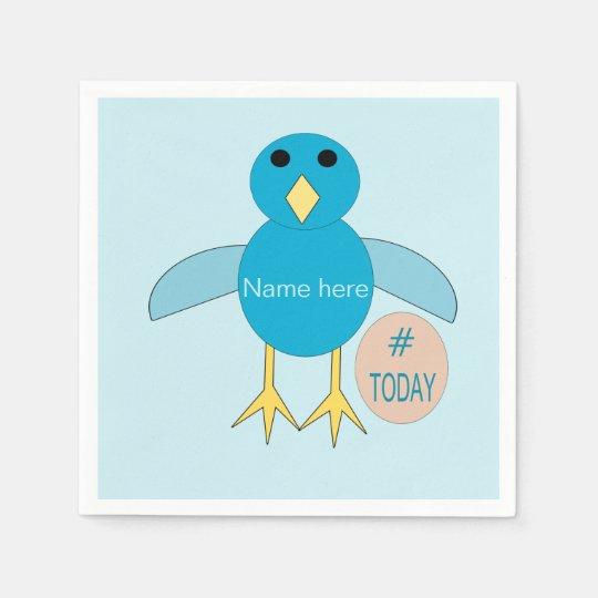 Custom Blue Birthday Boy Chick Paper Napkins
