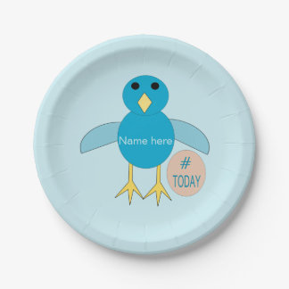 Custom Blue Birthday Boy Chick Paper Party Plates 7 Inch Paper Plate