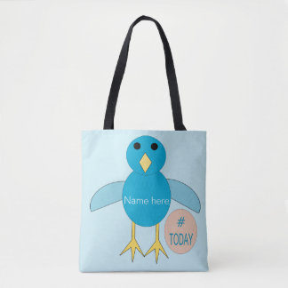 Custom Blue Birthday Boy Chick Tote Bag
