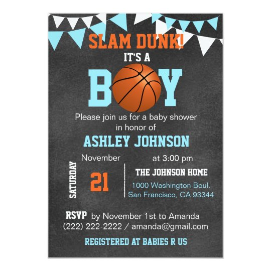 Custom Blue Boy Basketball Baby Shower Invitations