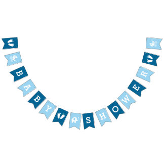 Custom Blue Boys Baby Shower Bunting Banner Flags