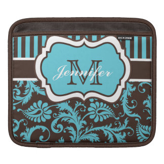 Custom Blue, Brown, White Striped Floral Damask iPad Sleeve