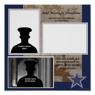 Custom Blue Camo Military Photo Collage Poster