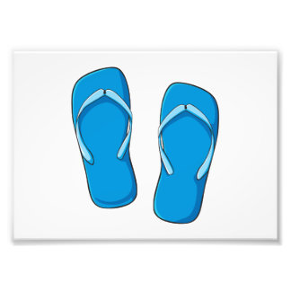 Custom Blue Flip Flops Sandals Greeting Cards Pins Photographic Print