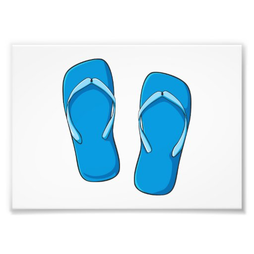 Custom Blue Flip Flops Sandals Greeting Cards Pins Photo Print
