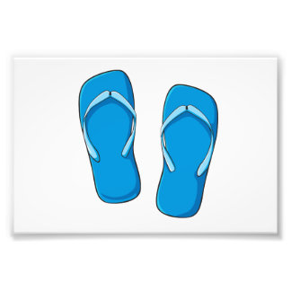 Custom Blue Flip Flops Sandals Greeting Cards Pins Photo