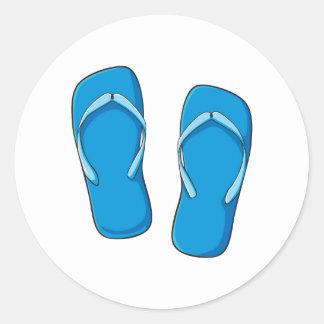 Custom Blue Flip Flops Sandals Invitation Postage Round Sticker