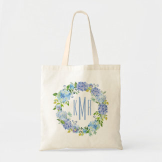 Custom Blue Floral hydrangea Monogram Tote Bag