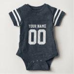 Custom blue football jersey number baby bodysuit