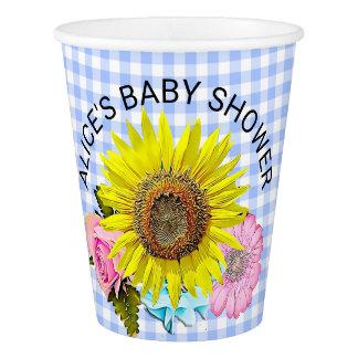 CUSTOM Blue Gingham Sunflower Flower Paper Cup