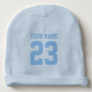 Custom blue jersey number baby beanie hat for boy