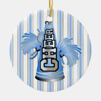 Custom Blue Megaphone Cheerleader Ornament