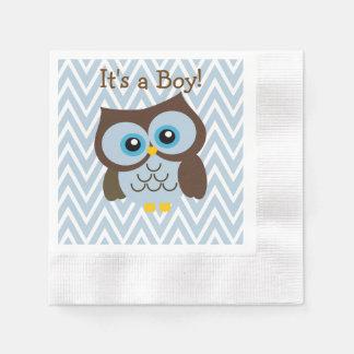 Custom Blue Owl & Blue Chevron Zigzag Napkins Disposable Serviette