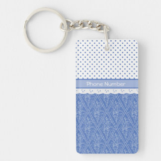 Custom Blue Periwinkles Polka Dots Faux Lace Single-Sided Rectangular Acrylic Key Ring