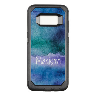 Custom Blue Purple Silver Abstract Watercolor OtterBox Commuter Samsung Galaxy S8 Case